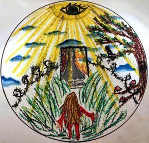 Drawing of Mandala. Drawing of person at a crossroads.
